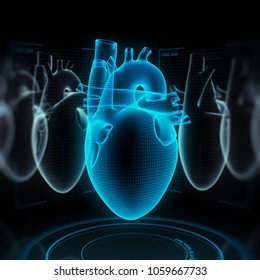 Digital human heart made of virtual wireframe. 3d illustration.