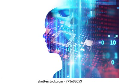 digital human skull and cpu represent  danger of cyber criminal,hacker and proccessor memory leak 3dillustration