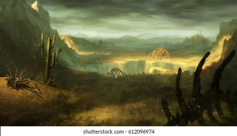digital illustration of abandoned desert land environment landscape with dinosaur skeleton