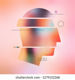 Digital illustration of abstract human head with sections and lines. Made with vector vibrant color gradient geometry form. Minimalist textured graphic artwork for wallpaper, web art and presentation.