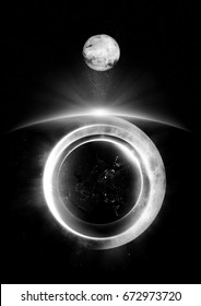 Digital illustration of abstract space art - black and white planets in layers - with big moon