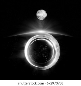 Digital illustration of abstract space art - black and white planets in layers - with big moon, square