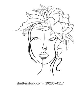 Digital illustration abstract woman face. One line drawing. portrait minimalist style. Woman's face in one line art style with flowers peonies.