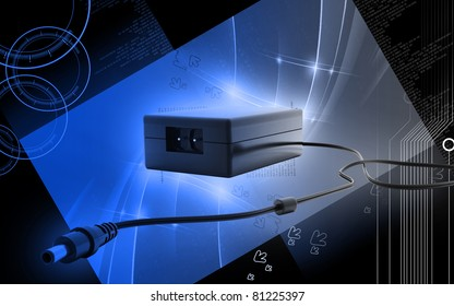 Digital illustration of adapter in colour  background