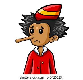 Digital illustration of an adorable Pinocchio