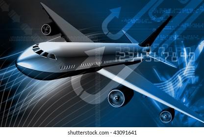 Digital illustration of Aeroplane with colour background