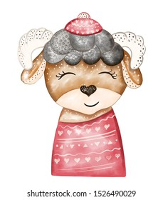 Digital illustration of an animal ram in watercolor on white isolated in the New Year and Christmas style