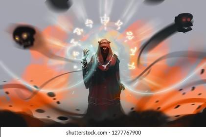 Digital illustration art design style a Sorcerer spelling dark magic against explosion land.