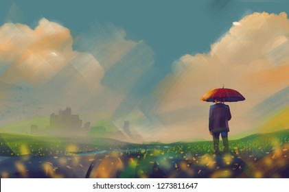 Digital illustration art painting design style a Businessman and red umbrella standing in field, business concept.