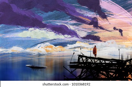 Digital illustration art painting a man standing on the abandoned pier in sunset, oil color painting style.