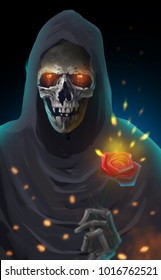 Digital illustration art painting style the reaper holding a red rose, immortal love , true love, forever love until die, valentine's day concept.