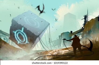 Digital illustration art painting style warrior readying to attack many fly monsters by huge weapon, the stone cube and chained is in abandoned city, sci-fi story, risk and fighting concept.