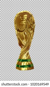 Digital illustration art painting style a golden world cup trophy with brushes texture in transparent, clipping path included.