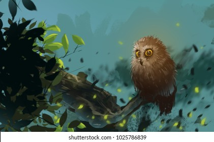 Digital illustration art painting style brown owl in the wild, silence forest and animal in night time.