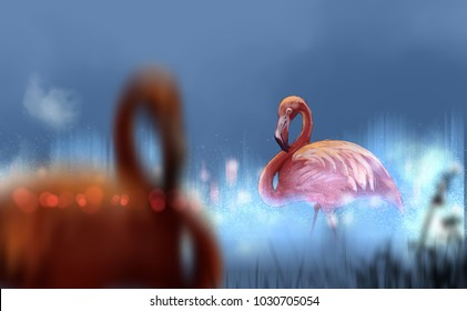 Digital illustration art painting style flamingoes in lake, fog on the water surface, focussing, outstanding, distinguished, brilliant, virtuoso concept.