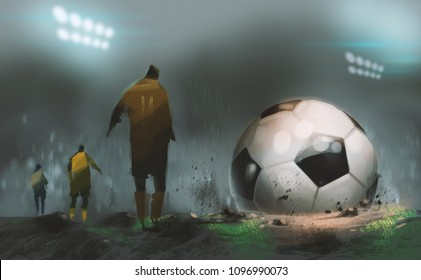 Digital illustration art painting style Football war in midnight stadium with huge football.
