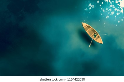 Digital illustration art painting style a fishing boat in the sea.