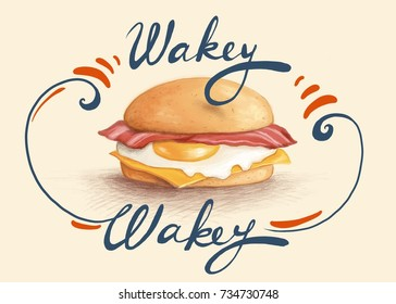 digital illustration of a bacon and egg breakfast muffin