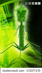 Digital illustration of  Bacteria phage  in  colour  background