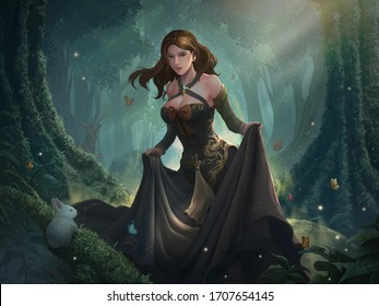 A digital illustration of a beautiful medieval fantasy princess and friendly wildlife in the romantic spring forest.