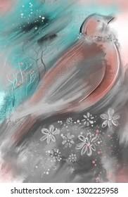 Digital illustration, bird and flowers