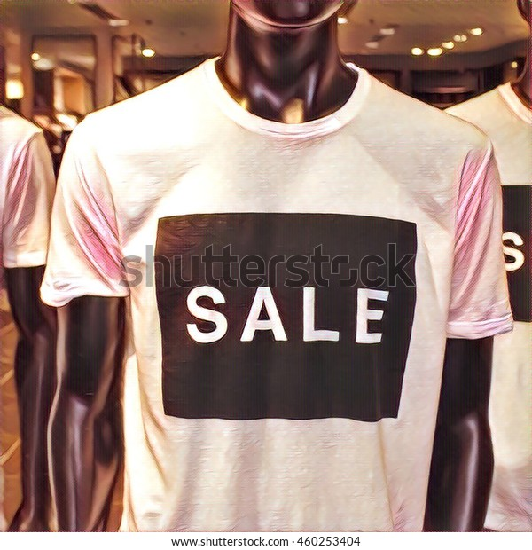 Digital Illustration Black Mannequin Tshirt Large Stock