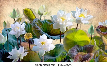 Digital illustration of a blooming white Lotus flowers with green leaves on a background of beige walls in the loft. Wallpapers and murals for interior printing.