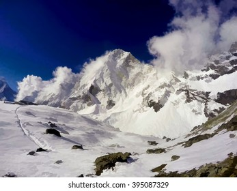 Digital illustration - blue sky and white mountains, Himalaya, afternoon in Himalayan mountains, white mountain landscape, sunny day in Nepal mountains, mountain and clouds in snow, summer in Himalaya