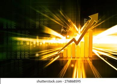 Digital illustration of Business graph background