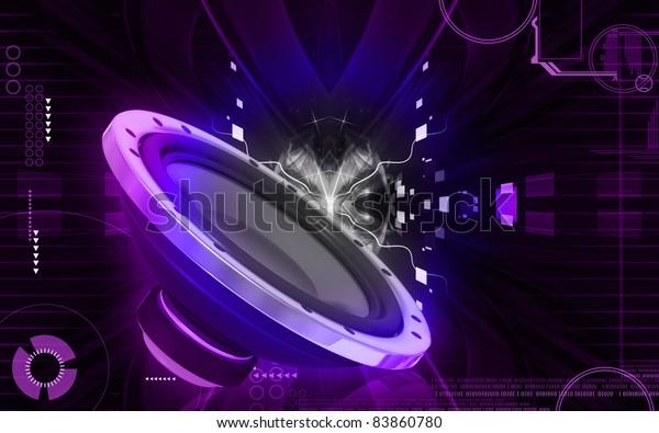Digital Illustration Car Stereo Colour Background Stock Illustration 83860780