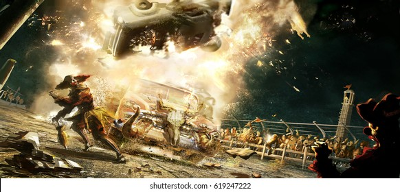 digital illustration of car vehicle crash explosion in auto race with clowns