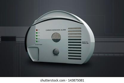 Digital illustration of Carbon monoxide alarm in colour background