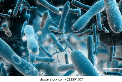 Digital illustration of cholera bacteria in   colour background