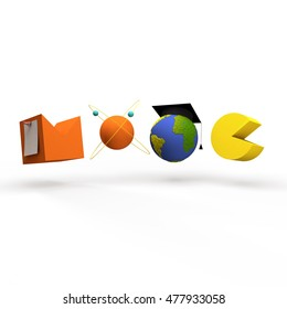Digital illustration concept for MOOC, Massive Open Online Courses, globe with square academic cap and atom model, isolated on grey background