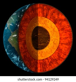digital illustration of a cross-section of planet Earth showing individual layers of the core