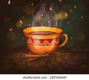 digital illustration of a cup of cinnamon tea
