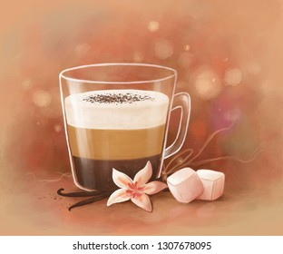 digital illustration of a cup of layered coffee with vanilla and marshmallows