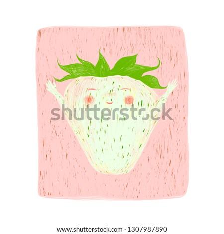 Digital Illustration Cute Character Unripe Strawberry Stock