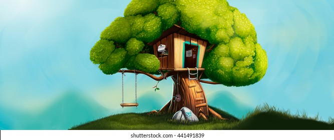 Digital illustration of a cute little house on the tree with a swing. Picnic at the forest edge. Children's house, a hut, a ladder and a swing. Oak landscape