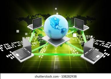 Digital illustration of Data transfering in color background