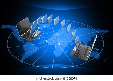 Digital illustration of Data transfering concept in color background