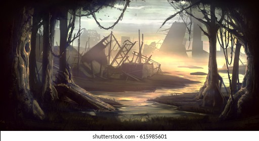 digital illustration of destroyed abandoned city street view environment landscape in middle of lake