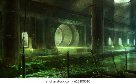 digital illustration of destroyed abandoned interior view in sewer system underground