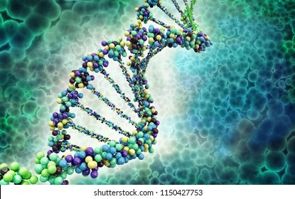 Digital illustration of a dna; 3d illustration