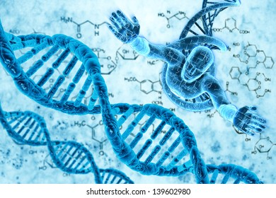 Digital illustration of DNA and the human