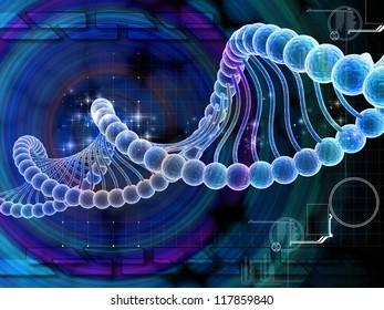 Digital illustration of dna structure in 3d on COLOR background