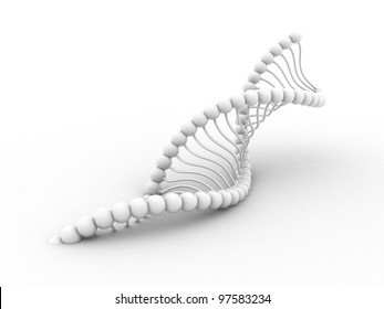Digital illustration of dna structure in 3d on white background
