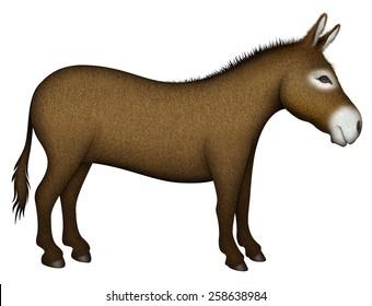 Digital illustration of a donkey �¢?? side view.
