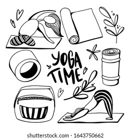 Digital illustration doodle outline set inscription yoga time, girls in poses on the rug, sports ring and bag. Print for stickers, posters, banners, invitations, business, fabrics and clothes.