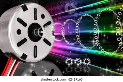 Digital illustration of electric stepper in colour background